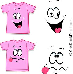printed pink T-shirt - funny face -