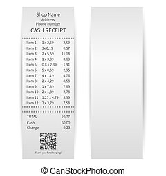 Printed receipt on a white background. Vector illustration.