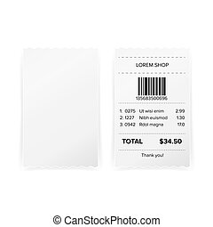 Printed Receipt Vector. Bill Atm Template, Cafe Or...