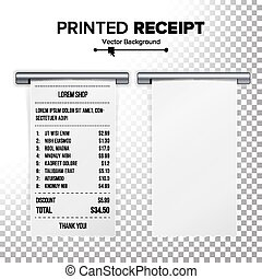 Printed Receipt Vector. Sales Shopping Realistic Paper Bill ATM Mockup. Cafe, Shopping Or Restaurant Paper Financial Check. Realistic Illustration. Transparent Background