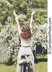 printemps, énergie, entiers, femme
