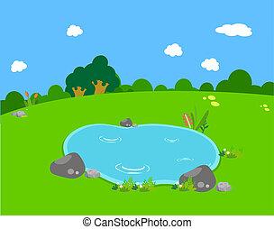 printemps, étang