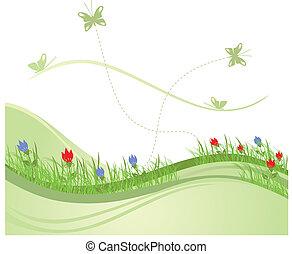 printemps, 2, champ vert
