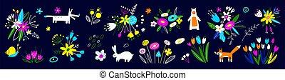 printemps, animals., lapin, grand, collection, impression, paques, feuilles, design., bannière, affiche, bouquets., invite., renard, art décoratif, floral, ours, elements., fleurs, fleur, botanique