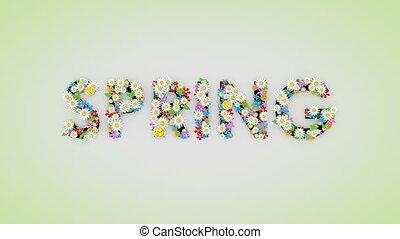 printemps, animation, texte, floral, saison