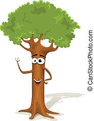 printemps, arbre, dessin animé, caractère