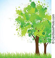 printemps, arbre, fond