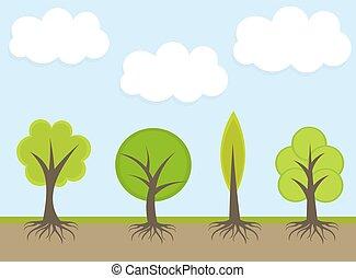 printemps, arbres, illustration