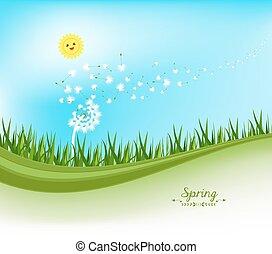 printemps, bannières, pissenlit