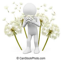 printemps, blanc, 3d, gens., allergies