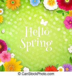printemps, bonjour, affiche