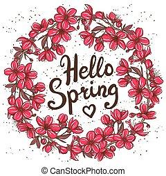 printemps, bonjour, carte, salutation