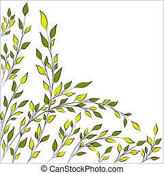 printemps, branches, ou, arbre, été