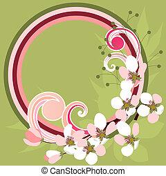 printemps, cadre, floraison, branches, boucles