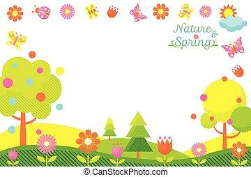 printemps, cadre, saison, icônes