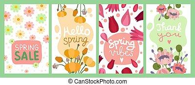 printemps, card., partie., vecteur, fleur, bannières, salutation, moderne, femme, affiches, beau, floral, amour, fleur, mode, bouquets, tags., ensemble, cadeau