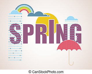 printemps, carte, temps