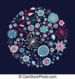 printemps, cercle, fleur, forme