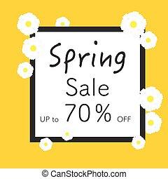 printemps, clair, bannières, design.