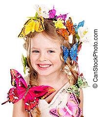 printemps, coiffure, butterfly., enfant