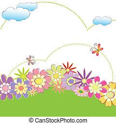 printemps, coloré, floral, papillon