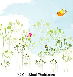 printemps, coloré, oiseau, floral