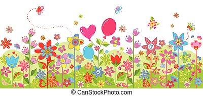 printemps, coloré, seamless, carte
