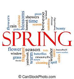 printemps, concept, mot, nuage