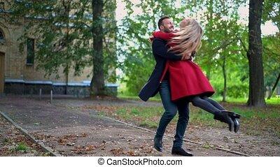 printemps, couple, parc, jeune, amusant, jour