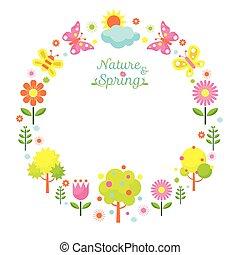 printemps, couronne, saison, objet, icônes
