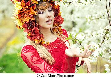 printemps, dame, portrait