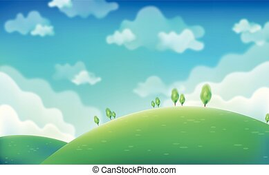 printemps, day., vert, champs, sur, ciel bleu, ., vecteur, eps10.