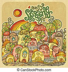 printemps, dessin animé, fée-conte, maisons