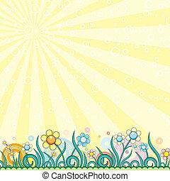 printemps, dessin animé