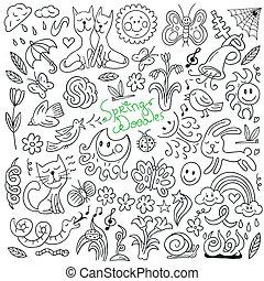 printemps, -, doodles