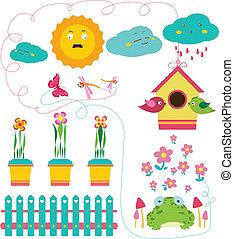 printemps, ensemble, jardin