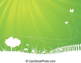printemps, et, été, papillons, jardin, fond