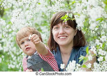 printemps, famille, heureux