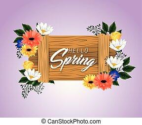 printemps, feuilles, bois, emblème, fleurs