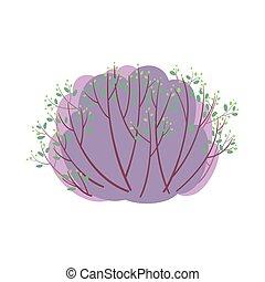 printemps, feuilles, buisson, feu vert, nouveau, blanc