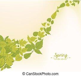 printemps, feuilles, fond, automne