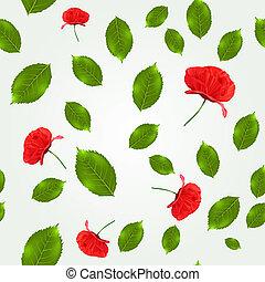 printemps, feuilles, modèle, seamless, coquelicots