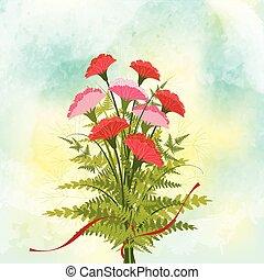 printemps, fleur, bac, rouges, oeillet