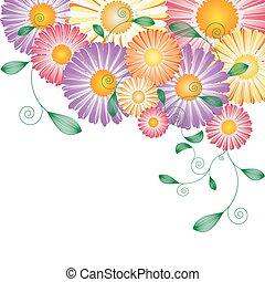printemps, fleur, coloré, carte, salutation