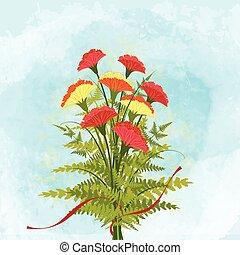 printemps, fleur, coloré, fond, oeillet