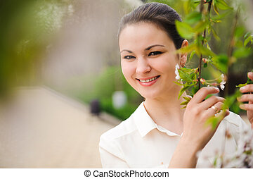 printemps, fleurir, arbre., parc, girl