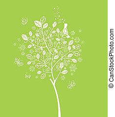 printemps, floraison, arbre