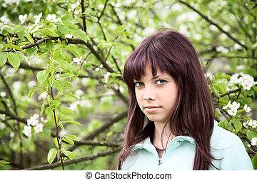 printemps, floraison, poire, contre, adolescent, girl