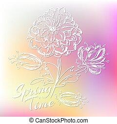 printemps, flowers., vecteur, fond, illustration