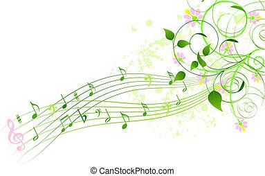 printemps, fond, chanson